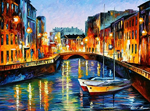 Evening River - Huge Europe Modern Oil Painting On Canvas By Leonid Afremov