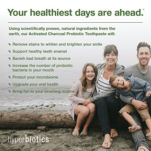 Probiotic Charcoal Toothpaste: All Natural with Xylitol and Organic Coconut Oil - Fluoride Free - Spearmint (4oz) by Hyperbiotics (Image #4)'
