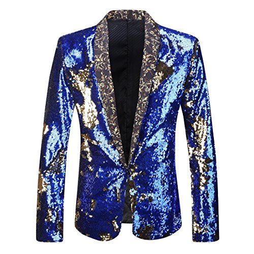 PYJTRL Men Stylish Two Color Conversion Shiny Sequins Blazer Suit Jacket (Royal Blue + Gold, L/42R) Blue Blazer Gold Buttons