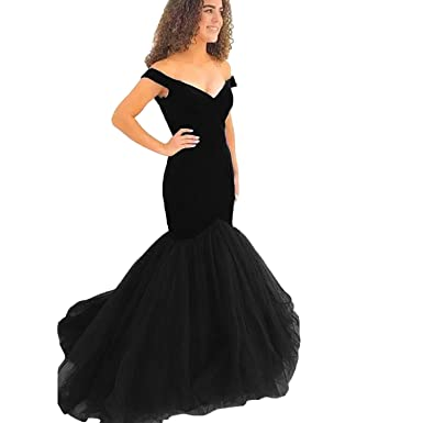 Yuxin Elegant Navy Blue Mermaid Prom Dresses 2018 Off Shoulder Ball Gown Princess Evening Party Gowns