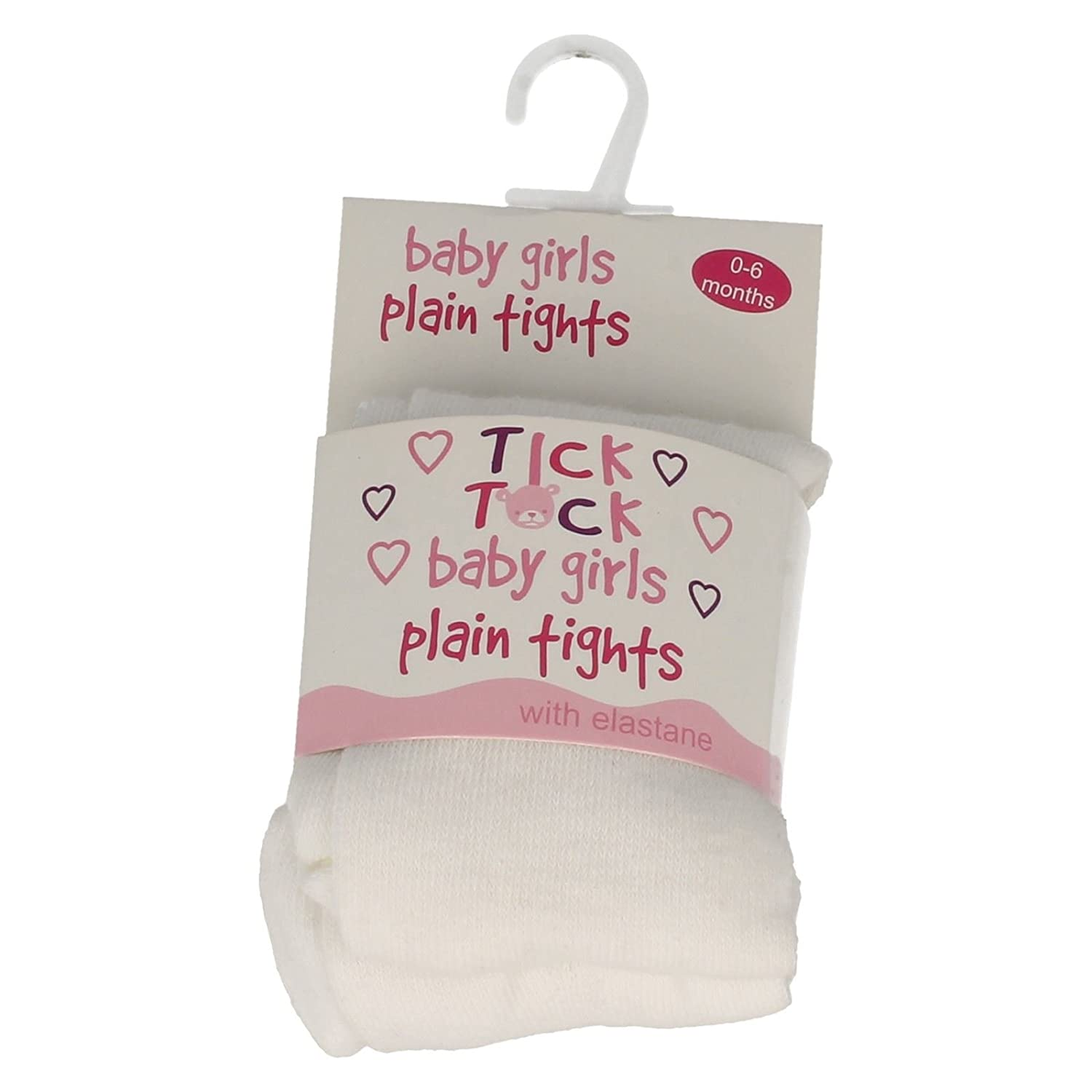 Baby Girls Tick Tock Plain Tights