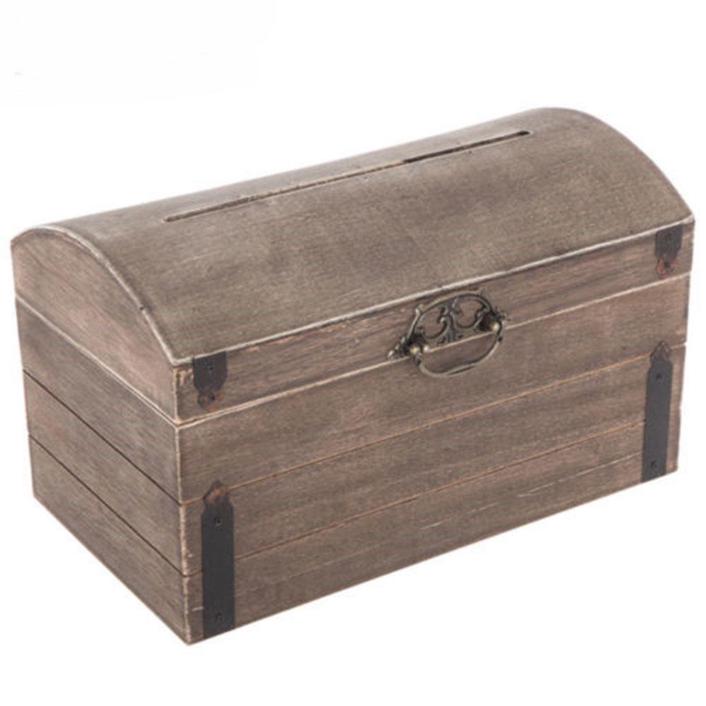 Adumly Elegant Rustic Country Antique Wood Wedding Card Gift Box Vintage Wishing Well
