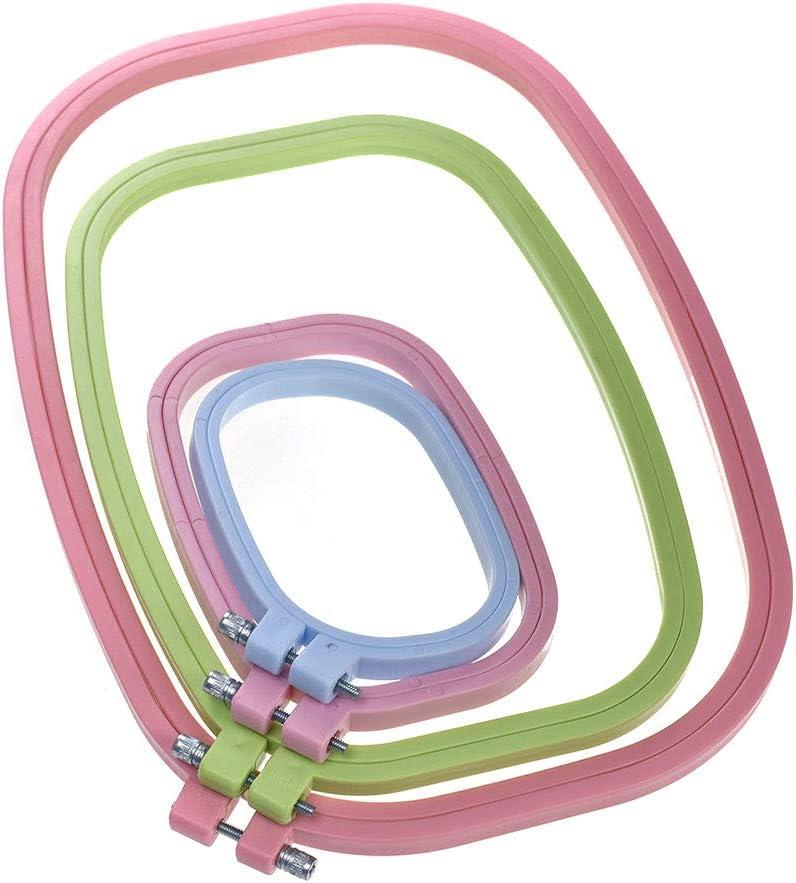 Unique WElinks - Juego de 4 Aros de plástico para Bordar, 4 tamaños, Forma Cuadrada, para Punto de Cruz, Aros, Marco, Aros y Bordados, Accesorios de Costura, Color al Azar