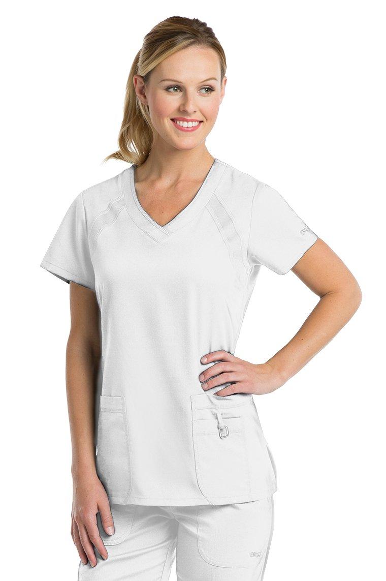 Grey's Anatomy Active Women's 41447 3 Pocket Knit Side Panel Scrub Top- White- 3X-Large