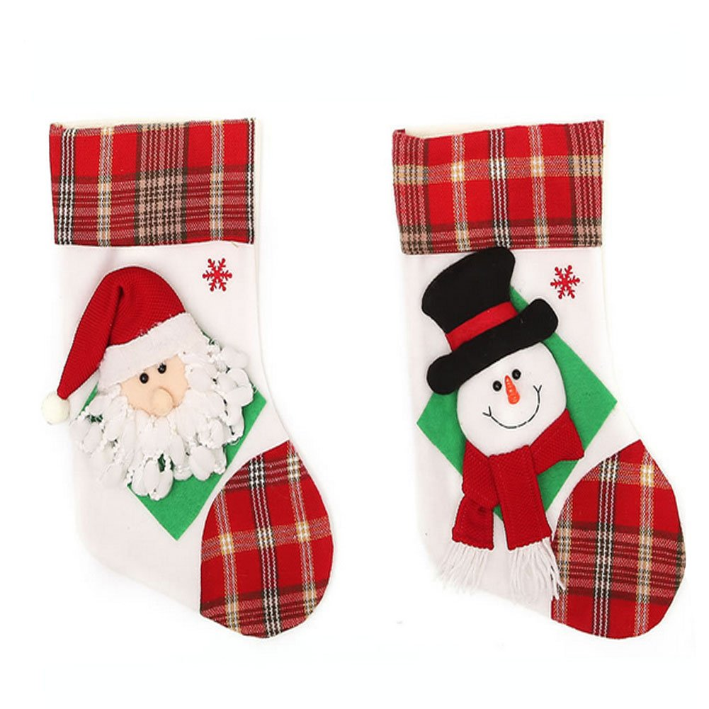 Classic Traditional Adorable Christmas Stockings,Santa and Snowman(2-Pack),Candy Gift Bag Xmas Tree Hanging Ornament Decoration
