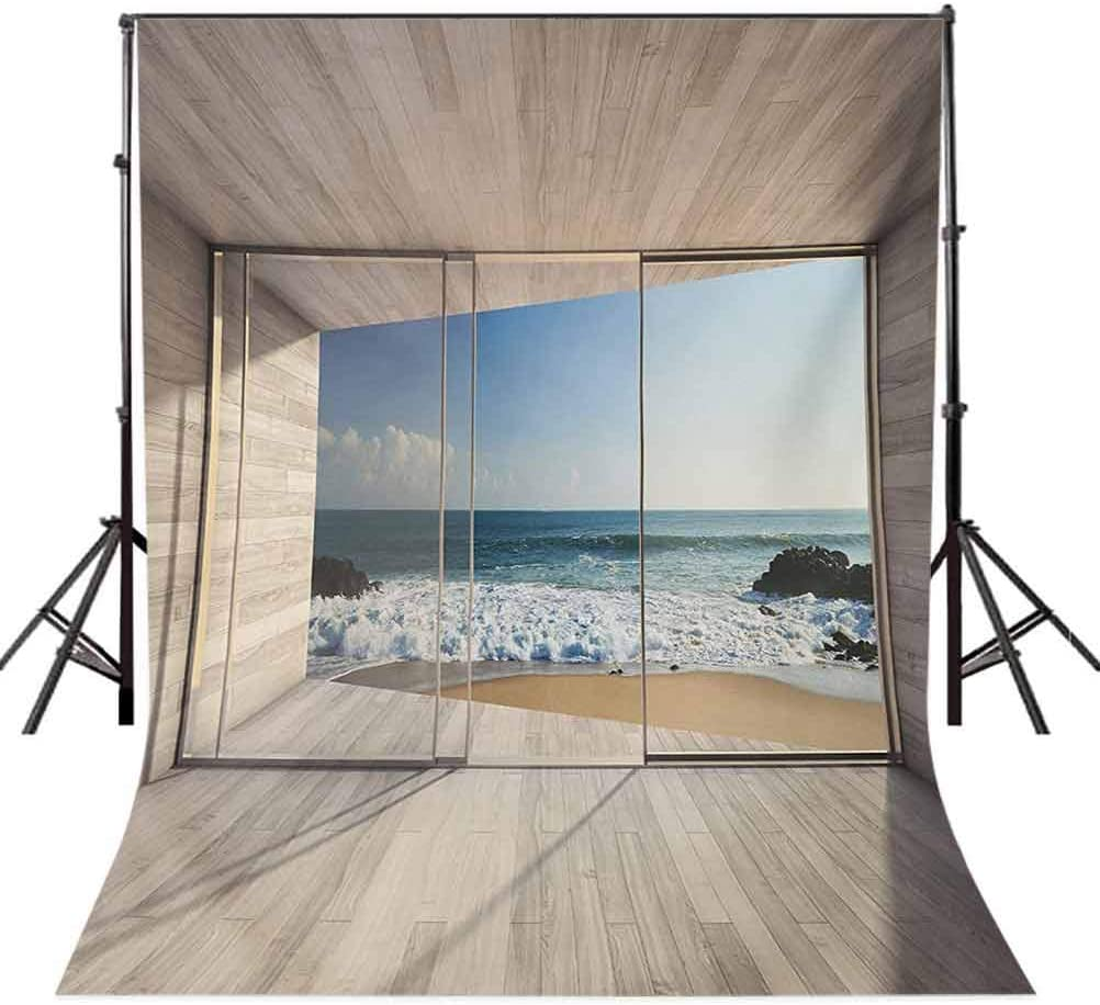 Modern 10x15 FT Photo Backdrops,Empty Modern Lounge Area with Large Window and View of Sea Waves Rocks Art Background for Baby Shower Birthday Wedding Bridal Shower Party Decoration Photo Studio