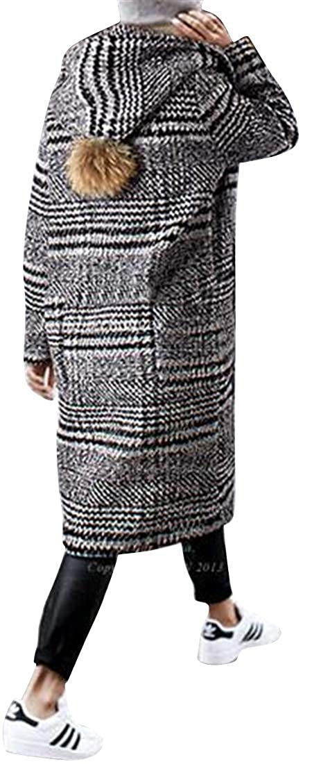 1 Jofemuho Women's Thicked Winter One Button Hooded Warm Check Wool Blend Trench Pea Coat Overcoat