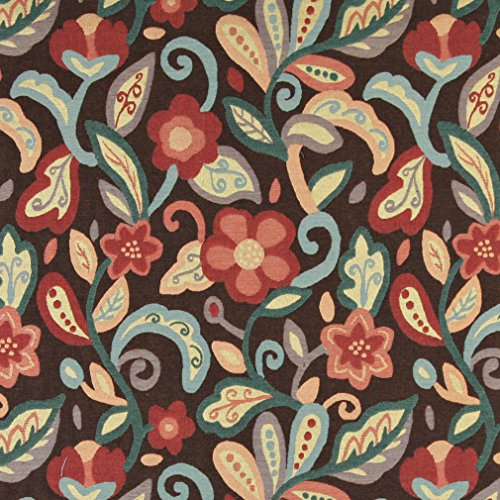 A0023B Teal Blue Orange Red And Brown Floral Contemporary Upholstery Fabric By The (Brown Calico Fabric)