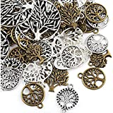 Naler 80pcs Tree of Life Pendant Charm, Assorted Color Styles Charms for DIY Jewellery Making, Bracelet, Necklace, Earring, Jewellery Finding Craft Decoration Accessories