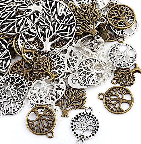 Jewelry Pendent Findings - Naler Tree of Life Charms Pendents Jewelry Findings for Making Bracelet and Necklace, Pack of 80