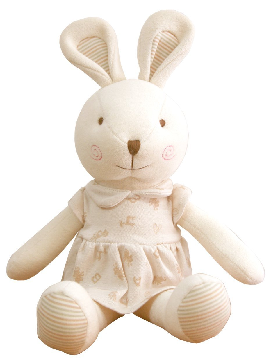 (Puppy & Baby Rabbit Rattle Set)100% Organic Cotton(No Dyeing Natural Organic Cotton) JOHN N TREE Organic