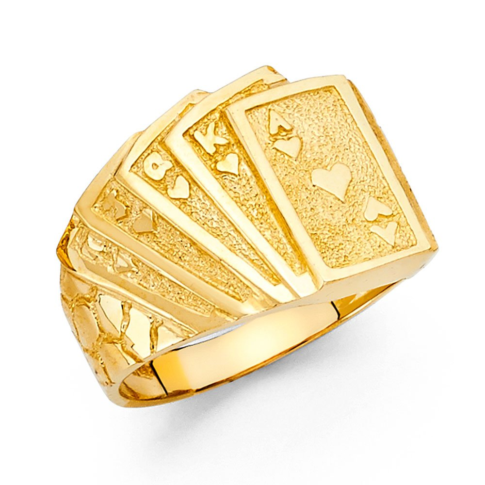 Men's 15mm 14K Solid Gold Deck of Cards Ring, Size 10.5