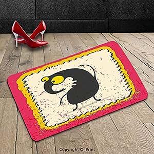 Custom lavable Felpudo Cartoon Cute Monster Grunge fondo extranjero caricatura Funny colores vibrantes arte rosa amarillo negro para interiores/al aire libre Felpudo alfombra alfombra alfombra