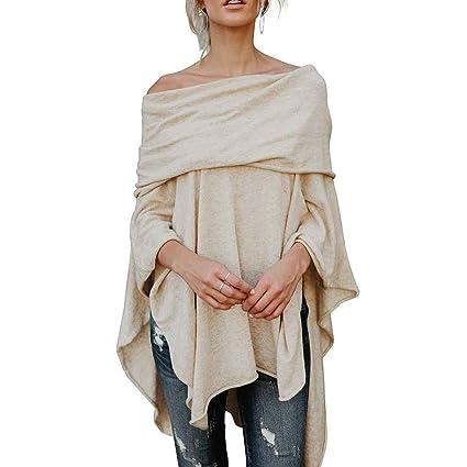 Korowa Las mujeres ocasionales del pañuelo del hombro Irregular Hem Side Slit Las camisas de la