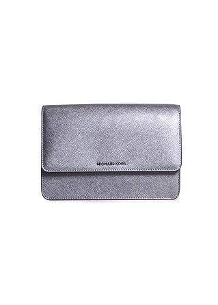 c956efa63eeb Amazon.com  Michael Kors Daniela Saffiano Leather Large Gusset Crossbody  Handbag in Light Pewter  Clothing