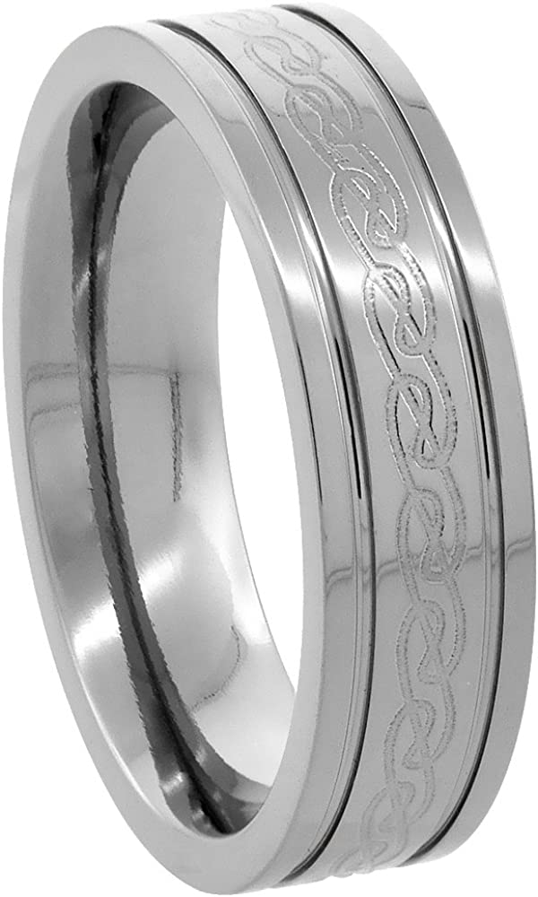 Sabrina Silver 6mm Titanium Wedding Band Etched Celtic Knot Ring Flat Grooved Edges Comfort Fit Sizes 7 to14