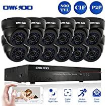 OWSOO 16CH CIF CCTV Surveillance DVR Security System HDMI P2P Cloud Network Digital Video Recorder with 12x 800TVL Indoor Infrared Dome Camera, Support IR-CUT Night Vision Plug and Play - Black