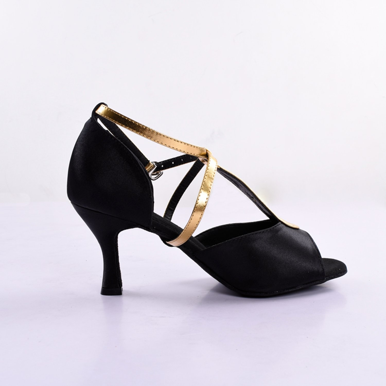 Kevin T-Strap KV110señoras satén de t-strap latin salsa baile boda sandalias, color Negro, talla 40