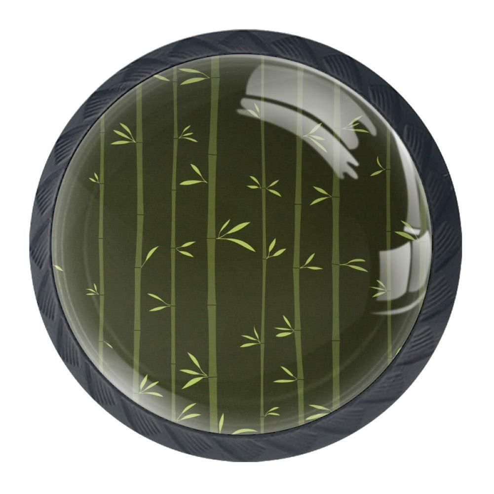 con tornillos de acero inoxidable para cocina o caj/ón Juego de 4 pomos redondos de cristal para muebles de armario con hojas de oto/ño multicolor