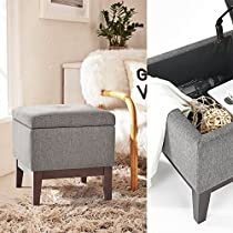 Ottoman with Storage, FurnitureR Tufted Wood Storage Ottoman Stool Cube Foot Rest Seat
