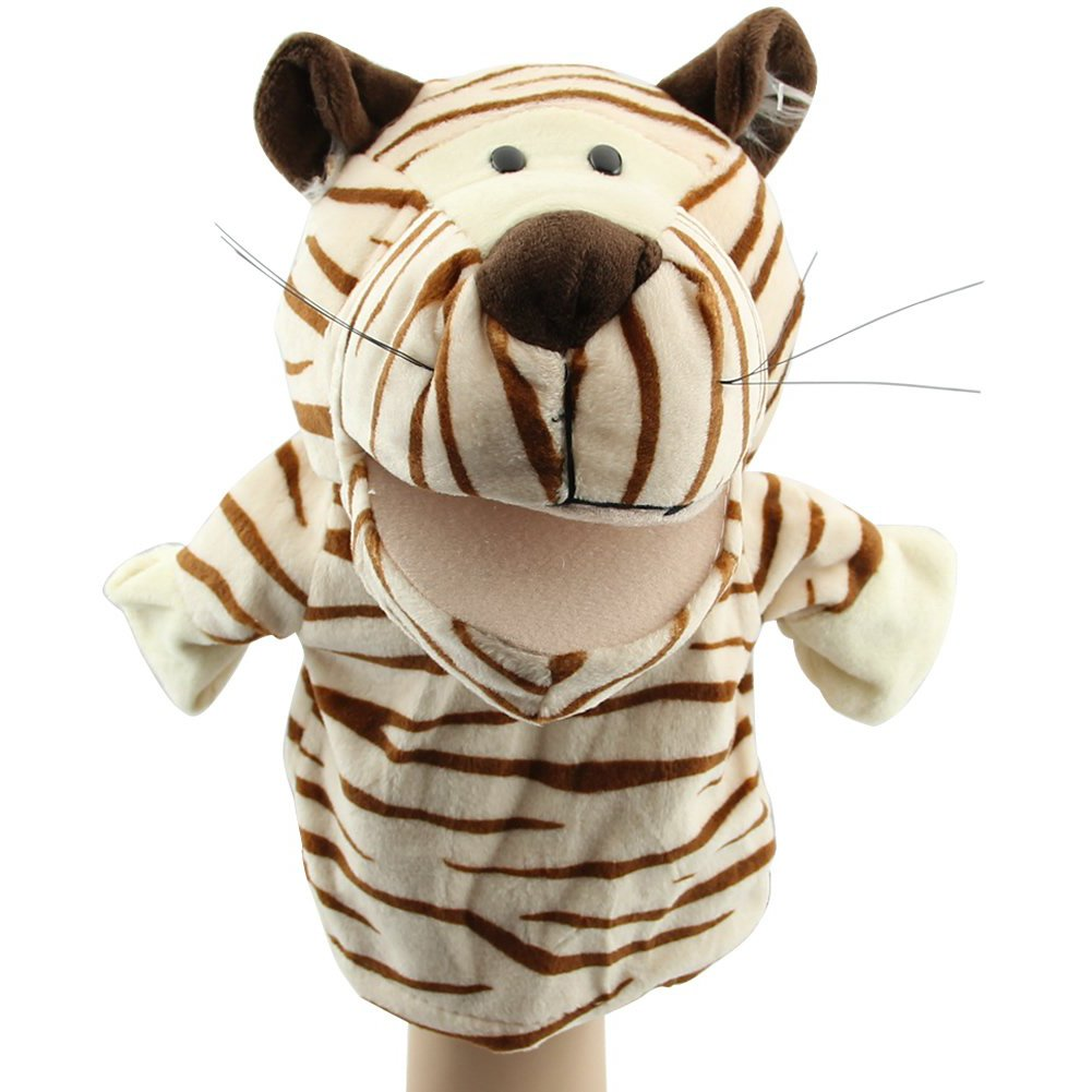 SODIAL(R) Cute Plush Velour Animals Hand Puppets Chic Designs Kid Child Learning Aid Toy (Tiger) 050533A2