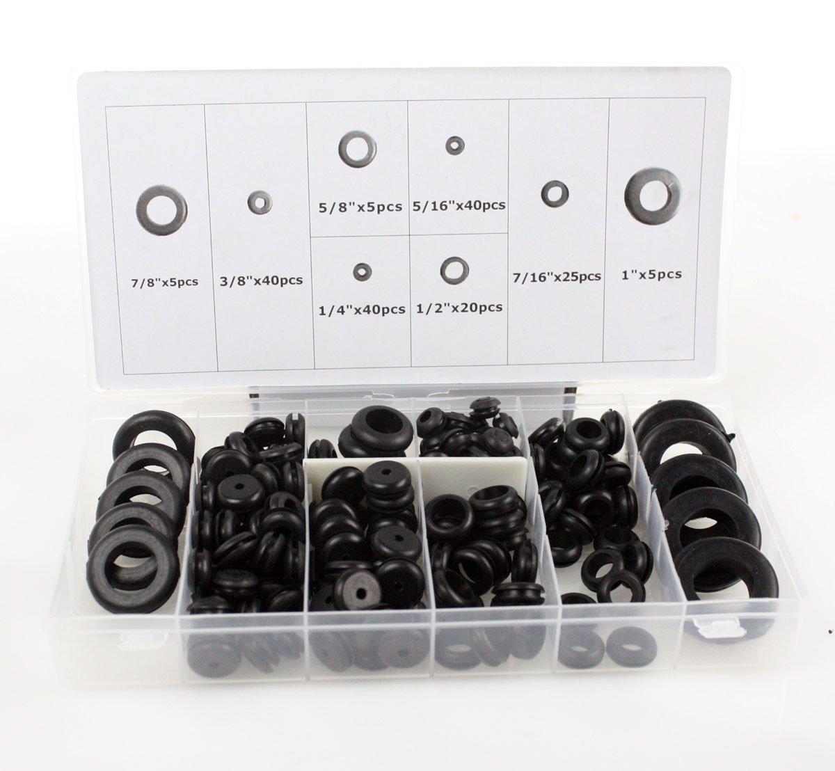 Rubber Grommet Multi Sizes Grommet Gasket for Protect Wire Cable Hose 125pcs//box Delaman Rubber Grommet Kit