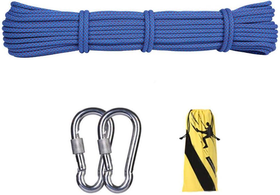 10.5ミリメートル屋外クライミング安全ロープ、ハイキングのための2 *カラビナ多機能ナイロン洗濯物が付いている家の緊急の脱出ロープキャンプ技術救助用具、青,35m