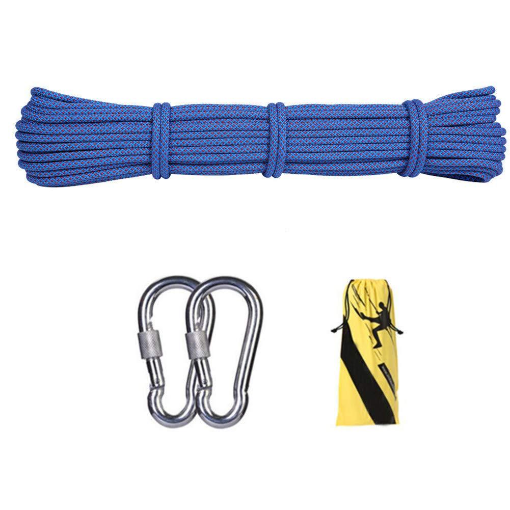 12ミリメートル屋外クライミング安全ロープ、ハイキングのための2 *カラビナ多機能ナイロン洗濯物が付いている家の緊急の脱出ロープキャンプ工学救助用具、青,45m