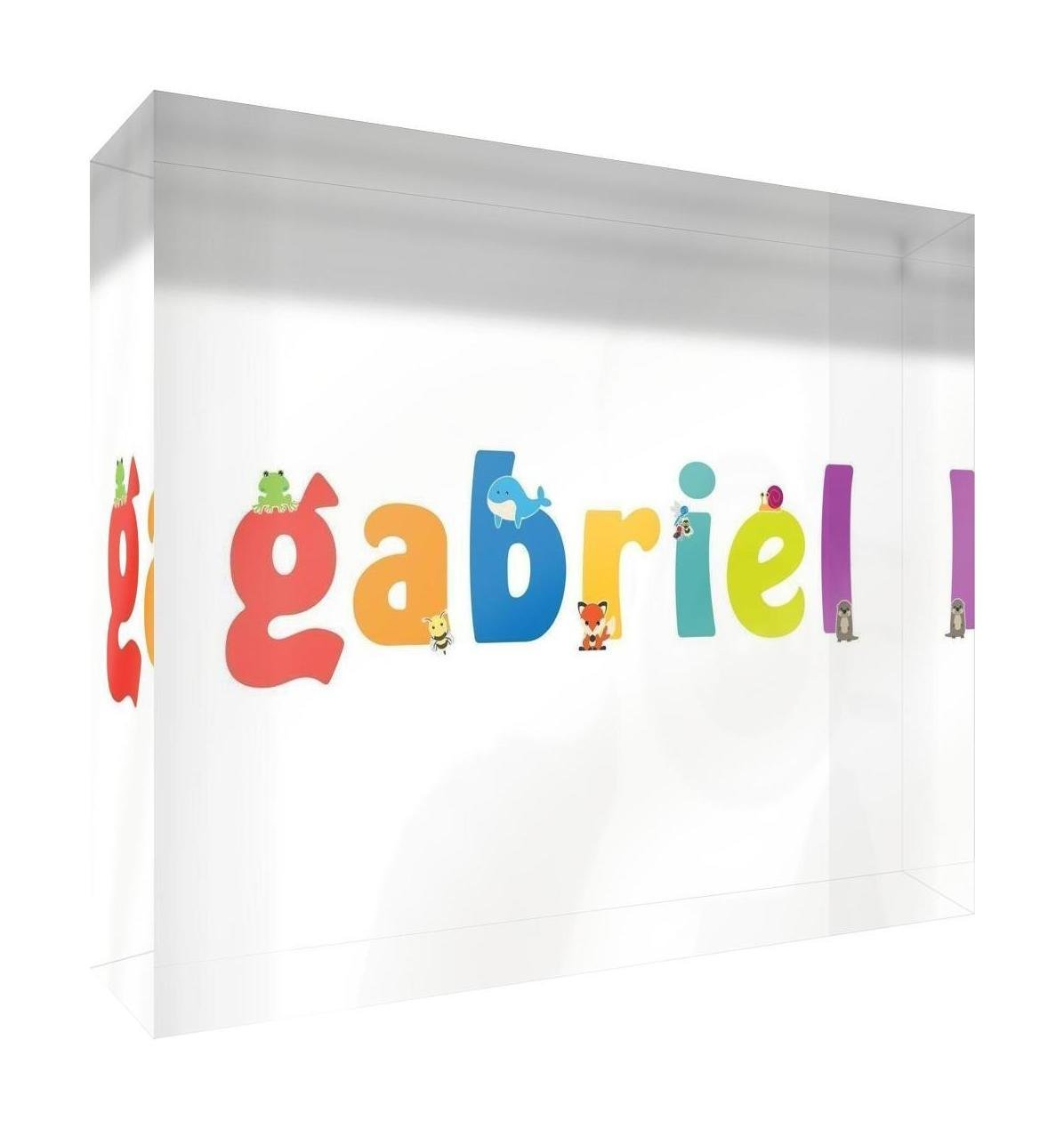 Little Helper Souvenir Décoratif en Acrylique Transparent Poli comme Diamant Style Illustratif Coloré avec le Nom de Jeune Garçon Gabriel 5 x 15 x 2 cm Petit LHV-GABRIEL-515BLK-15FR
