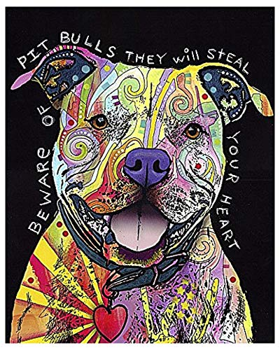 Beware of Pit Bulls by Dean Russo Animal Contemporary Dog Print Poster -