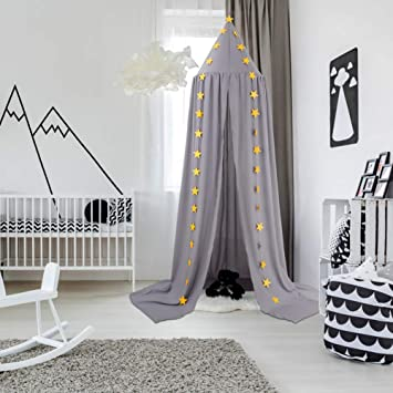 Crib Decorative Tent Dome Hook Cotton Mosquito Net for Baby Crib Nook Castle Game Tent Nursery for Childrens Room Bedroom Games Reading play Tent CeeKii Kids Bed Canopy Gray