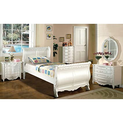 Amazon.com - Furniture of America Mystical Reign Pearl White ...