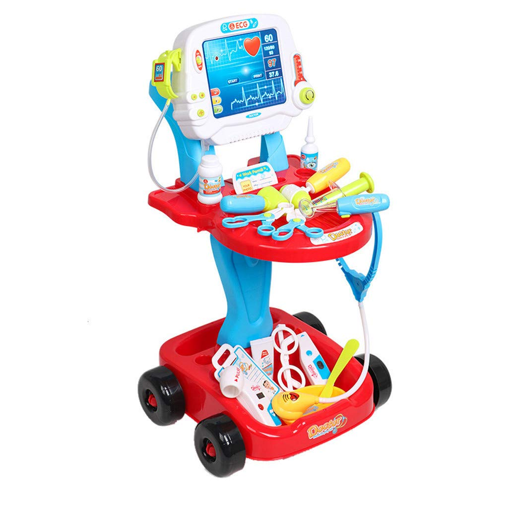 Gunel Doctor Cart - Childrens Pretend Play Set Doctor Accessories Medical Kit Stethoscope Toys Organizer Role Playing Game Preschool Educational Toys Holiday Gifts (Red)