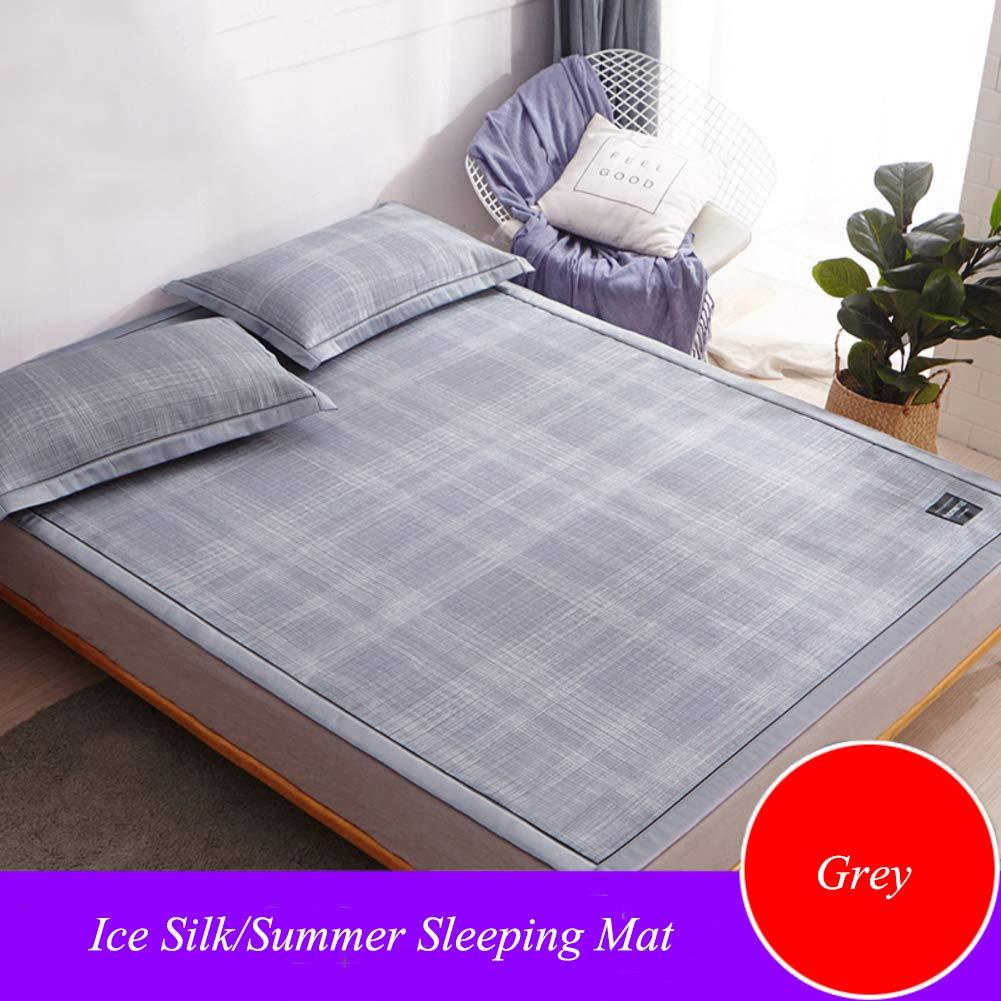 AMYDREAMSTORE Ice Silk Summer Sleeping mat,Washable Folding Cooling ice mat Summer Straw Mat Rattan Mattress pad-A 100x180cm(39x71inch)