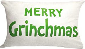 Christmas Decor Green Grinch Merry Christmas Cushion Covers Throw Pillow Cover Tartan Cover Case for Couch Sofa Home Decoration Cotton 20 X 12 Inches