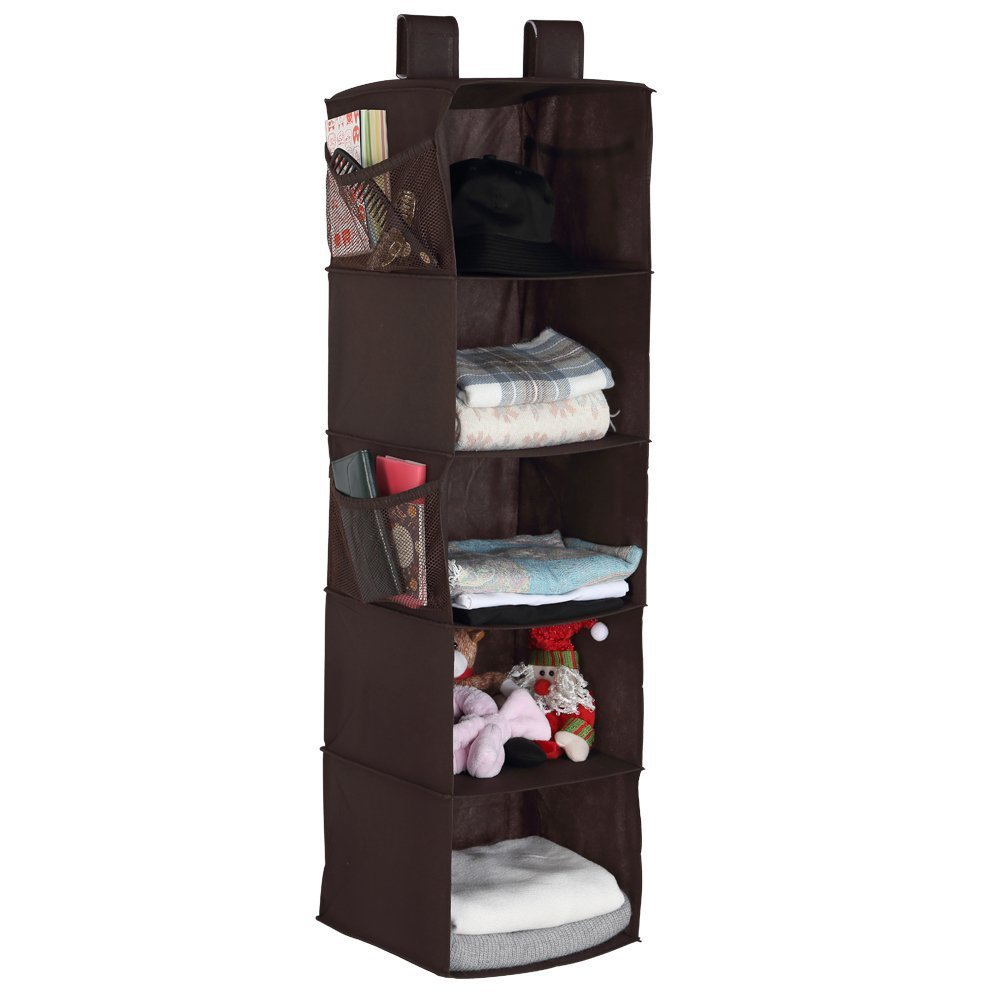 Housen Solutions Hanging Closet Organizer Clothes Storage Shelves, 5-Shelf Collapsible Accessory Hanging Shelves with 4 Mesh Pocket, Brown