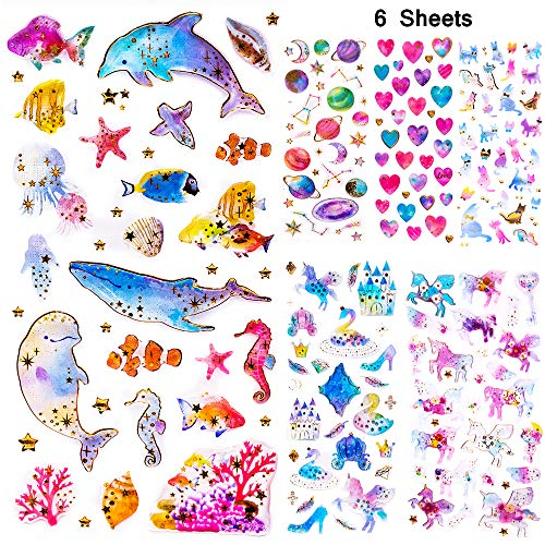 Next2U Self-Adhesive Glitter Craft Crystal Sticker - Unicorn, Whale, Dolphin, Star Cute Sticker for Books, Phone, Laptops, Water Bottle - 6 Sheet