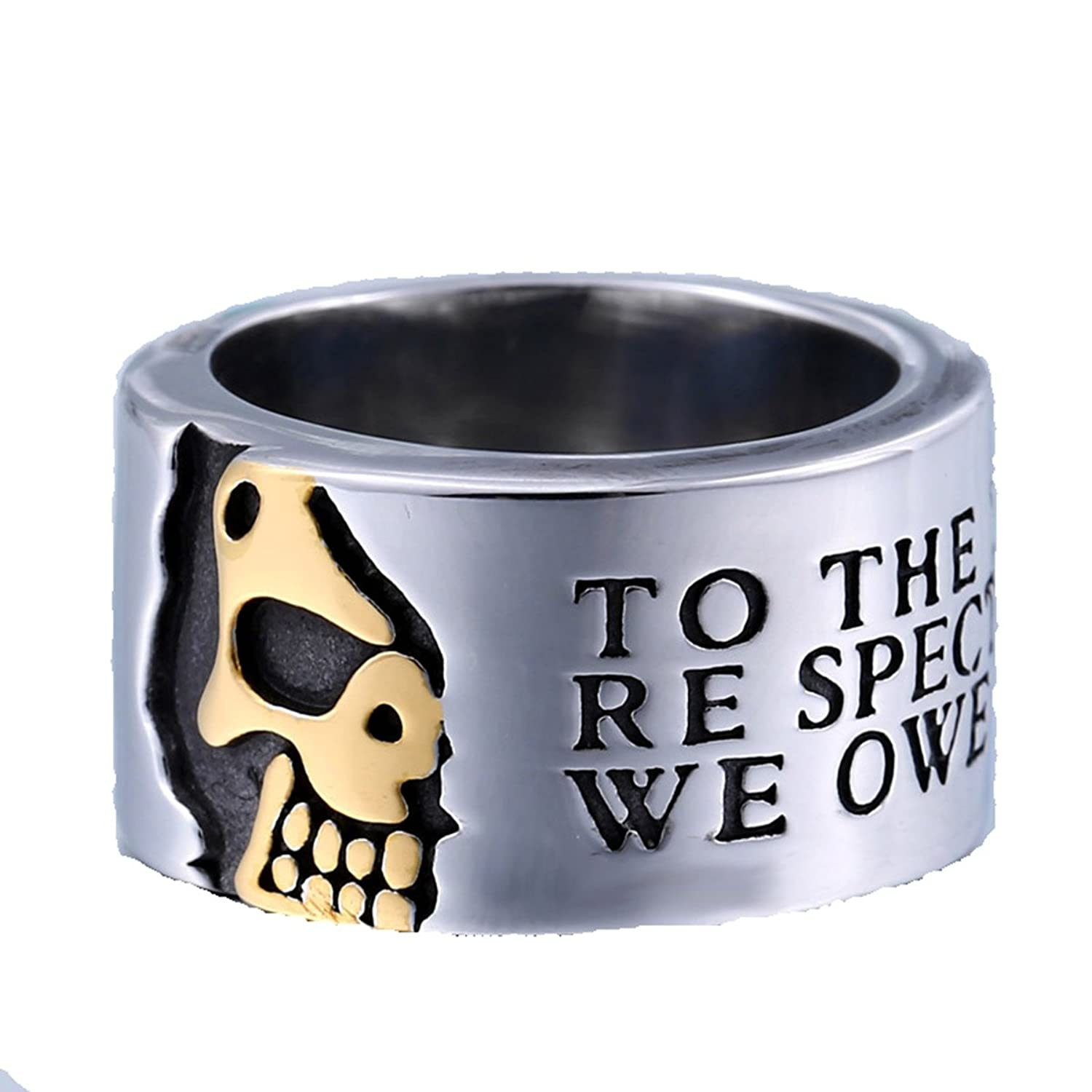 Biker Rings For Men,Harley Rings For Men,Punk Retro Rings for Men,Titanium Steel,To The Living We Owe Respect, But To The Dead We Owe Only The Truth.