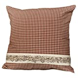 Red Seersucker Plaid Berry Vine 16 x 16 Cotton Decorative Throw Pillow