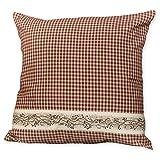 Cheap Red Seersucker Plaid Berry Vine 16 x 16 Cotton Decorative Throw Pillow