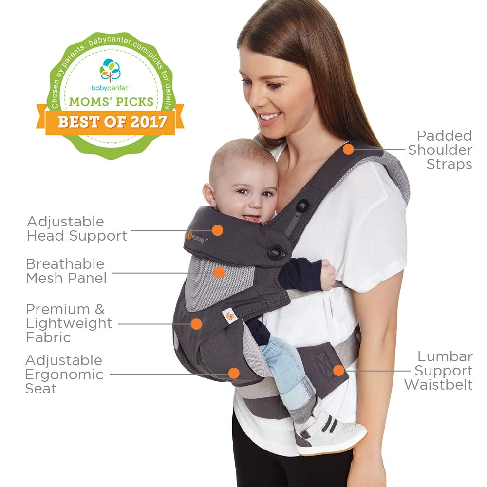 Ergobaby Carrier, 360 All Carry Positions Baby Carrier with Cool Air Mesh, Carbon Grey by Ergobaby (Image #8)