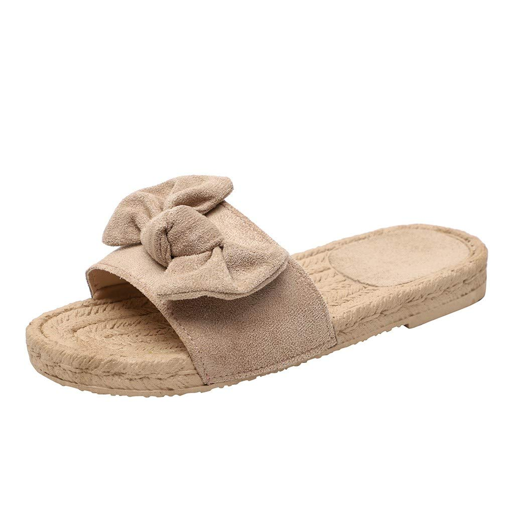 Hot Rome Women Summer Butterfly-Knot Slipper Flat Outdoor Casual Comfortable Slippers Open Toe Sandals (Beige, 8)
