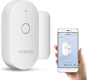 WiFi Door Sensor, FUERS Wireless WiFi Mini Magnetic Sensor Window Alarm Tuya Smart APP Compatible with Alexa Google Assistant Home Security Door Open Contact Sensor for Bussiness Burglar Alert