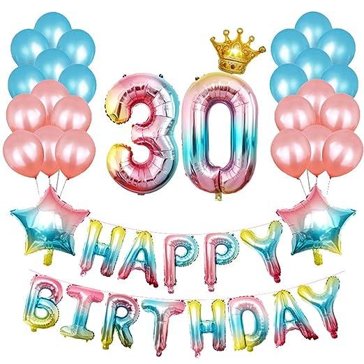 STOBOK 30 cumpleaños Decoraciones, Gradient Happy Birthday ...
