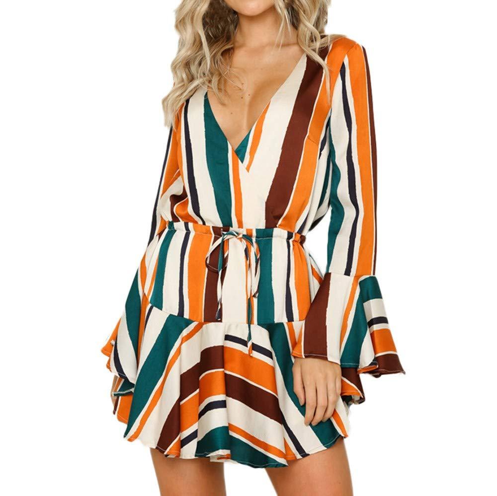 JESPER Womens Daily Irregular Stripe Bow tie Evening Party Fashion Club Flare Sleeve Midi Dress US4/6 Multicolor