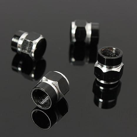 Calistouk 4 Tapa del neumático tapones antipolvo de aluminio para válvulas de neumáticos de coches,