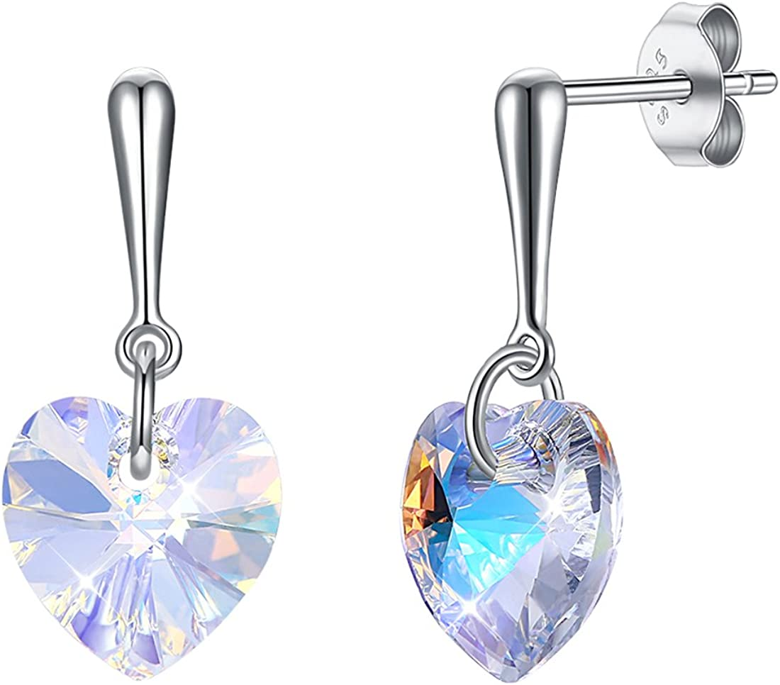 Caimeytie 925 Plata Pendientes de Mujer Cristal Austríaco en forma de Corazón