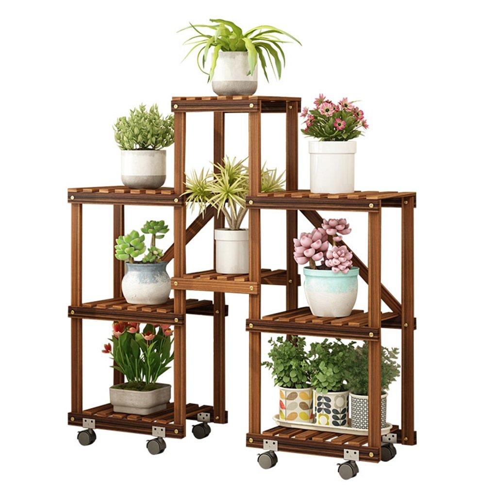 植物収納ラック 取り外し可能な車輪が付いている多層純木の花の立場、庭の陳列台、居間の寝室のバルコニーの植物の立場 B07T5CNHGV