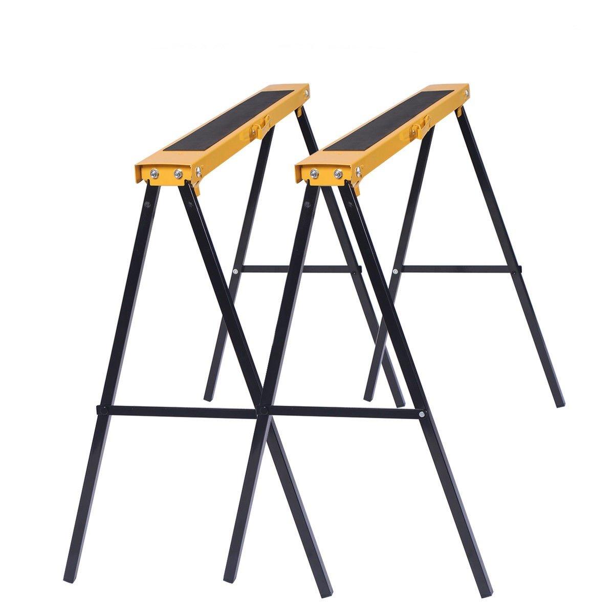 2Pcs Portable Steel Saw Horse Capacity 250 Lbs w/ Foldable Legs