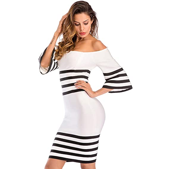 2941733e2651 ADYABY Bodycon Dress for Wedding Birthday Host Party fit for 20 Years Old  up Women, White and Black Striped Off Shoulder at Amazon Women's Clothing  store: